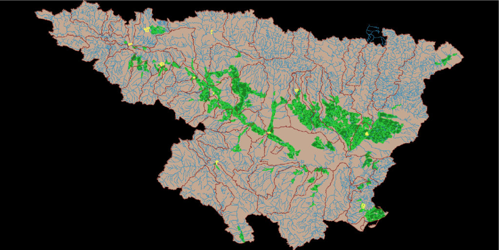 Dank Open Science können Chris' Modellierungen auch anderen Wissenschaftern helfen. Im Bild: das Einzugsgebiet des Ebro in Spanien, samt Bewässerungswirtschaft in grün. (Bild: Christopher Knittel, CC by 4.0)