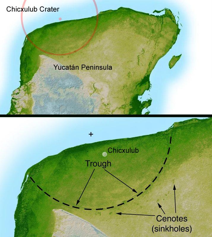 Eine Karte des Kraters Chicxulub auf der Yucatán-Halbinsel. Der Rand des Kraters ist eingezeichnet.