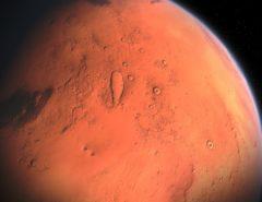 Eine Nahaufnahme der Marsoberfläche.
