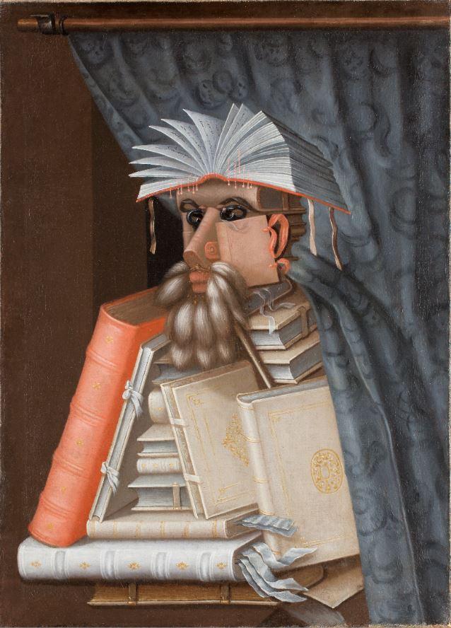 Das Gemälde zeigt einen Mann, der aus lauter zusammengestellten Büchern besteht. Über seine Schulter hängt ein blauer Vorhang.